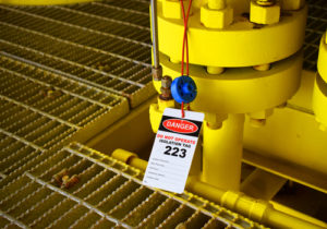 Industrial machinery with lockout tag